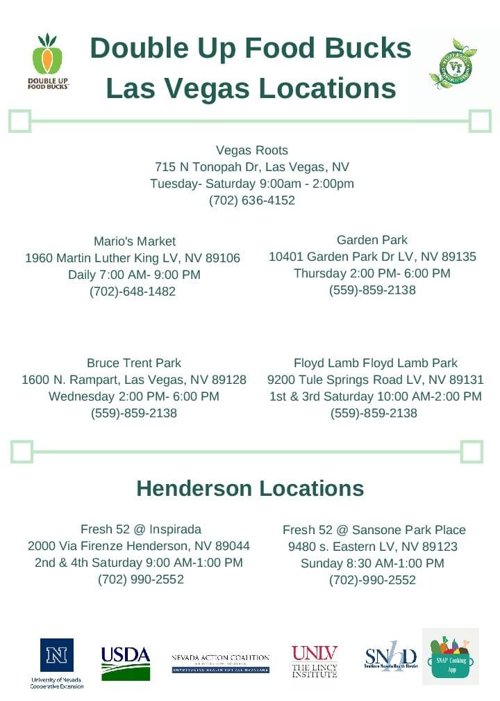 Double Up Food Bucks - Las Vegas Locations | Fresh EBT