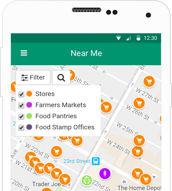 Map screen showing nearby stores, farmer's markets, and food pantries
